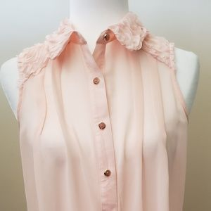 New York Collection Sheer Sleeveless Blouse Pink